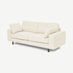 Content by Terence Conran Tobias 2 Seater Sofa, Ivory White Boucle with Dark Wood Leg