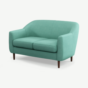 Tubby 2 Seater Sofa, Soft Teal with Dark Wood Legs